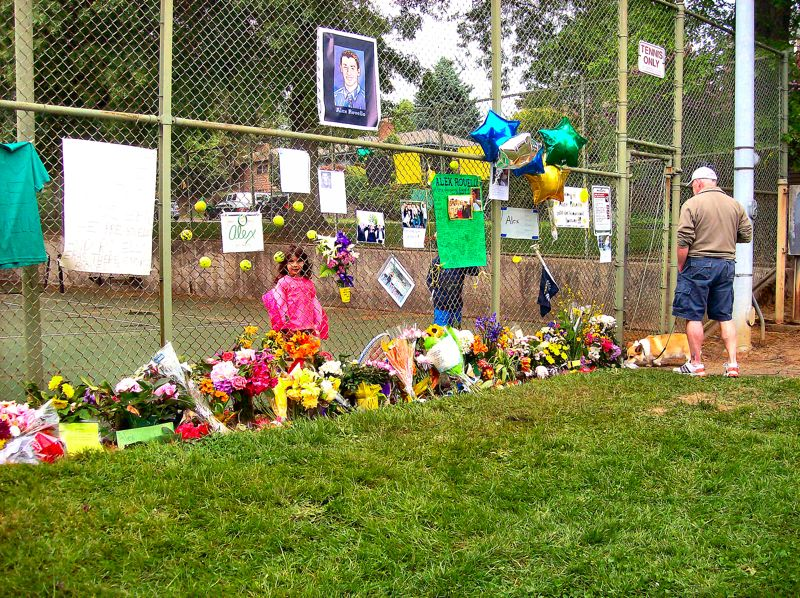 by: RITA A. LEONARD - Visitors to the Alex Rovello memorial at Berkeley Park recall the young tennis star, a Cleveland High School graduate and later a student at the University of Oregon - and his friendly spirit.