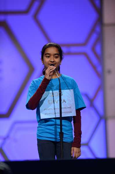 by: SUBMITTED PHOTO - Divya Amirtharaj represented Oregon in the Scripps National Spelling Bee.