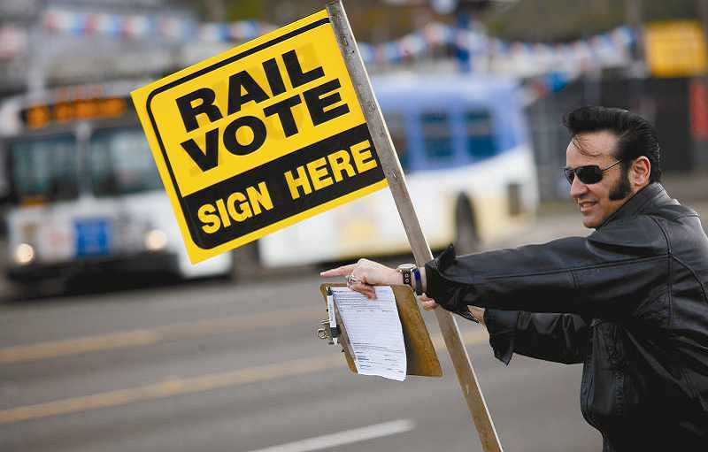 Petitioners are hoping to get enough signatures to put an initiative on the November ballot. The ballot measure would stop any MAX or bus rapid transit line from coming to Tigard without a vote of the people.