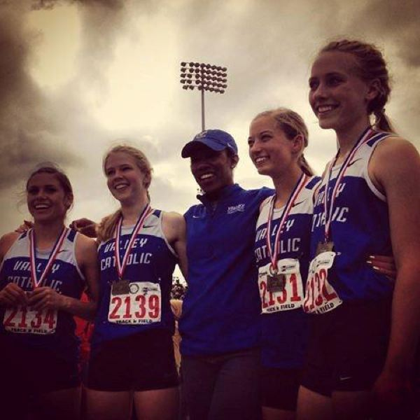 by: COURTESY PHOTO: BARBARA KERR  - The Valiants 4X100 relay team of Makenzee Cleveland, Claire McLoughlin, Mikaela Bernards, and Reilly Blood won the state championship with the help of assistant coach assistant coach Marica Bomber.