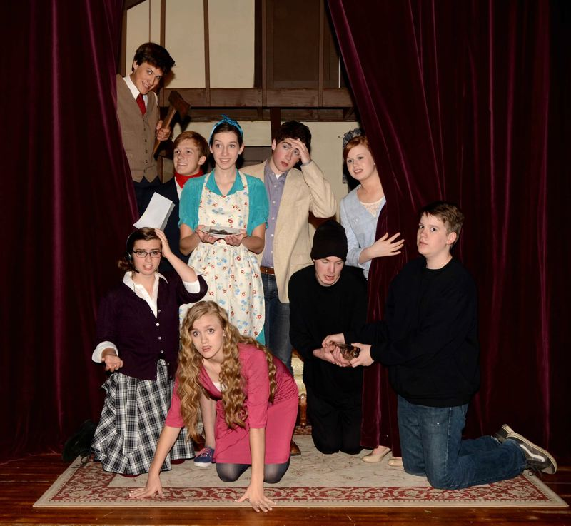 by: CONTRIBUTED PHOTO: NICOLE THORNTON - The cast of Noises Off! will conclude its performances this week at Portland Lutheran School. Sitting from left: Meredith Neilson, Rachel Lawrence, Jason Warman, Jason Rathbone. Standing from left: Erik Scott, Blake Dunbar, Valerie Warman, Lucas Buchanan, Ellie Leach.