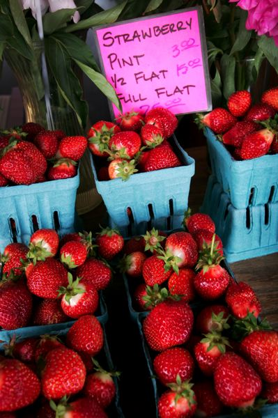 by: OUTLOOK PHOTO: JIM CLARK - Strawberries at the Troutdale Fruit Stop were grown in raised beds and less impacted by Mays unending rains.