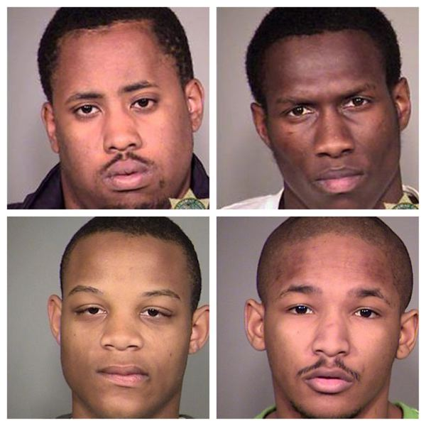by: CONTRIBUTED PHOTOS: MULTNOMAH COUNTY SHERIFFS OFFICE - (Top) Cedrell Washington, DeShawn Rogers (Bottom) Nicholas Clisby, Terry Scott are accused of producing and distributing child porn in Portland.