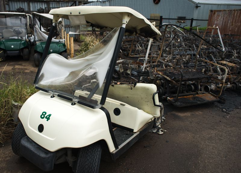 by: HILLSBORO TRIBUNE PHOTO: CHASE ALLGOOD - J&S Golf Cart Rentals lost 24 of their carts to fire, but, fortunately, still has hundreds more.