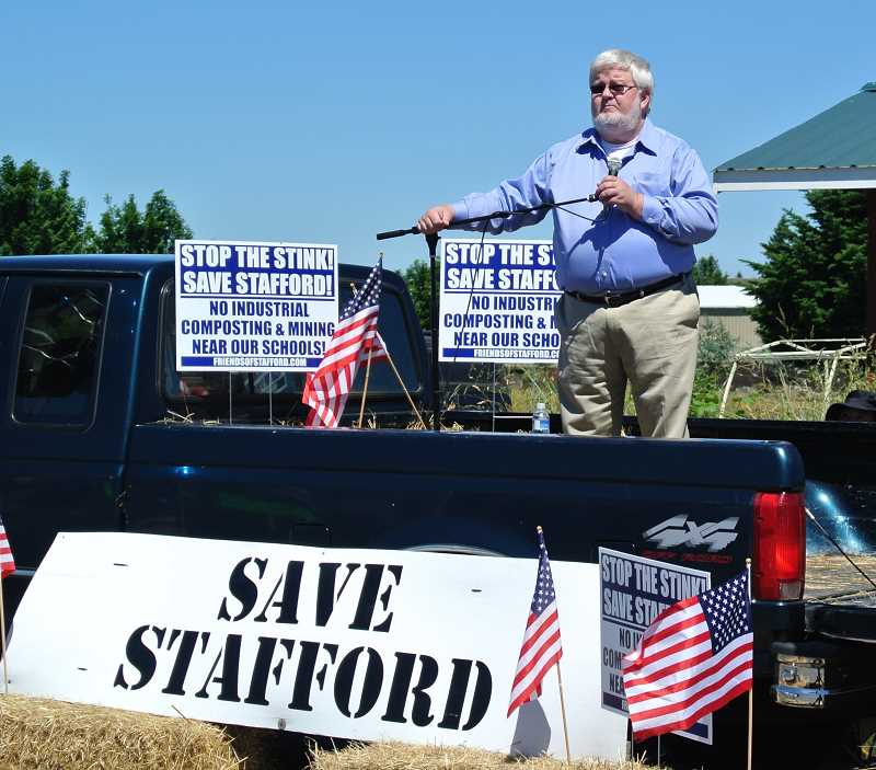 by: SUBMITTED PHOTO - State Sen. Richard Devlin spoke at the 'Stop the Stink-Save Stafford!' rally on June 8.