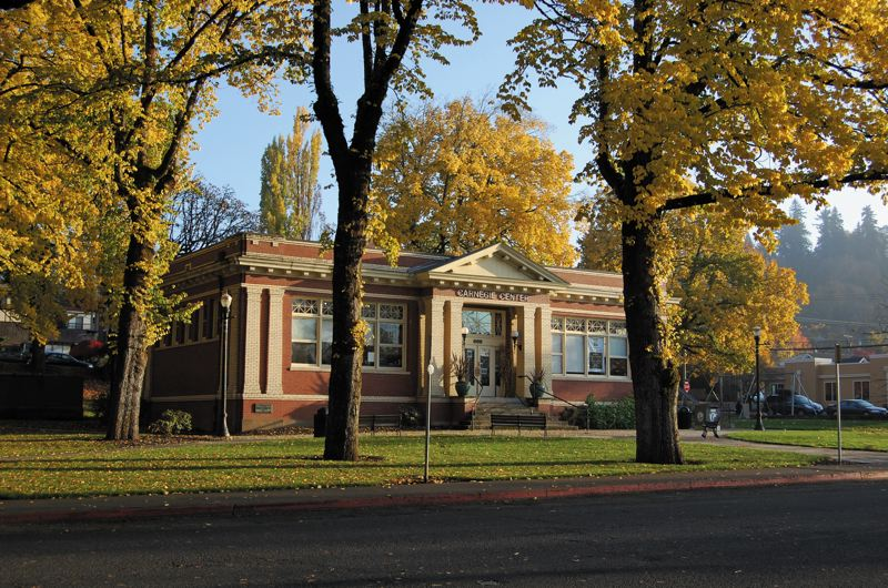 by: FILE PHOTO - Oregon Citys library left the Carnegie Center in 1995 for more space at Danielsons Hilltop Mall but is back now and serving serving an increasing number of citizens in a cramped 7,000-square-foot space.