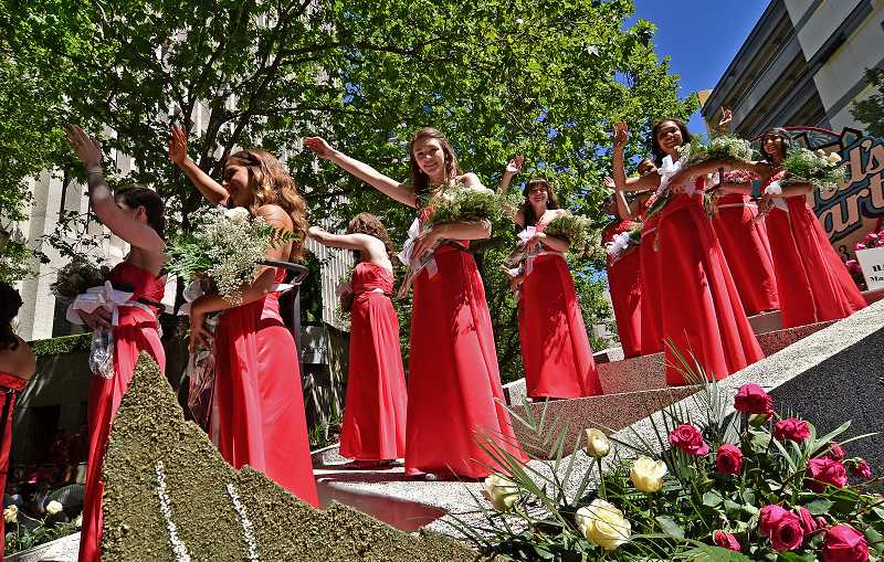 by: REVIEW PHOTO: VERN UYETAKE - Lake Oswego High junior Megan Ten Berge, center, served as a Rose Festival princess.
