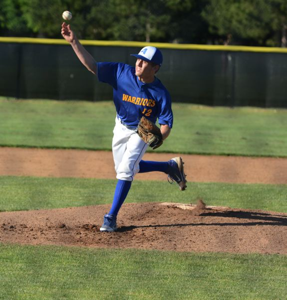 by: TIMES PHOTO: MATT SINGLEDECKER - Aloha starting pitcher Carson Richards was effective with his breaking ball against Century and helped the Warriors build an early 3-2 lead.