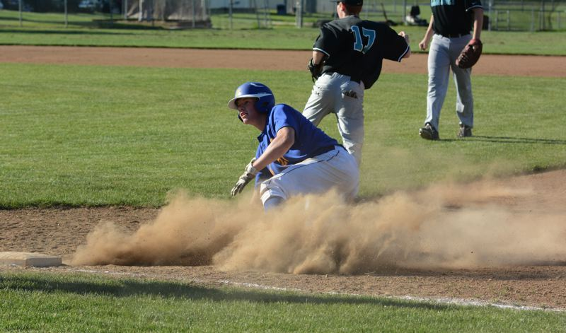 by: TIMES PHOTO: MATT SINGLEDECKER - Alohas Dylan Griffin slides back to first base after escaping a pickle in the fourth inning of the Warriors 4-3 loss to Century on Monday.