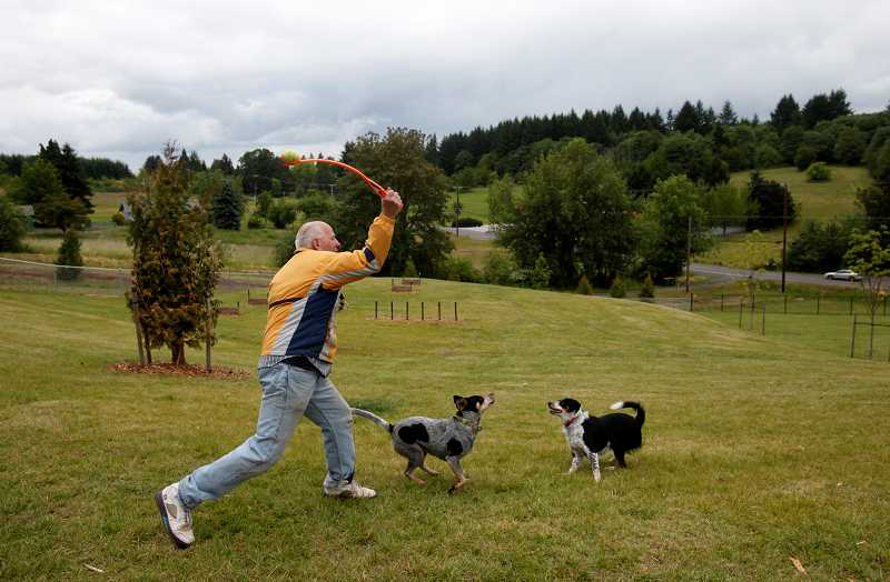 by: TIMES PHOTO: JONATHAN HOUSE - Michael Perry throws a ball to his two dogs Sally and Mya at the Tualatin Hills Park and Recreation District's new Paul & Verna Winkelman Park near Cooper Mountain.