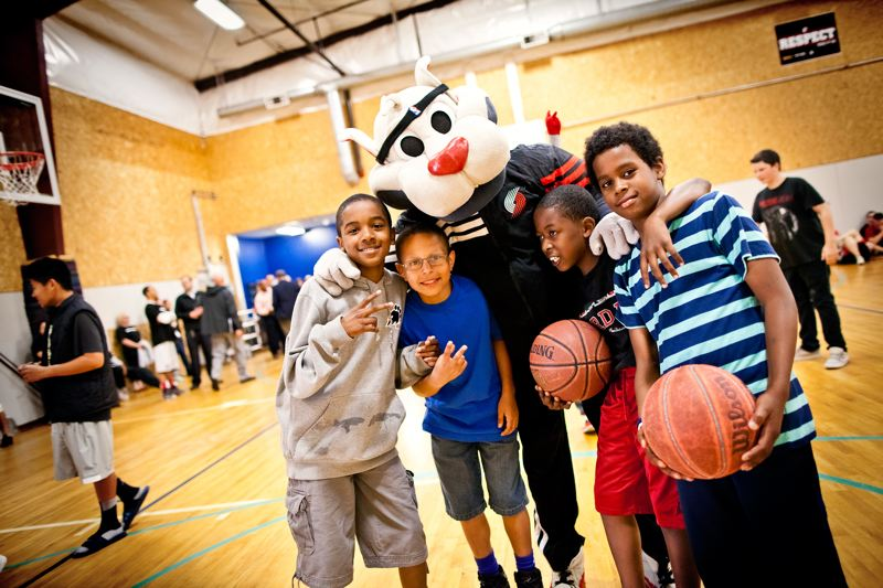 by: CONTRIBUTED PHOTO: RYAN PROUTY - Boys & Girls Club kids had the opportunity to meet Blaze the Trail Cat of the Portland Trail Blazers, eat ice cream and learn about plans to rebuild the current facility they attend.