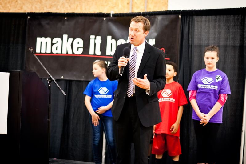 by: CONTRIBUTED PHOTO: RYAN PROUTY - Gresham Mayor Shane Bemis addresses a crowd Tuesday, June 11, at the Boys & Girls Club on 172nd Avenue and Northeast Glisan Street. We have a responsibility to lift these kids up and give them a chance, Bemis said of the plans for two new Rockwood youth service facilities.