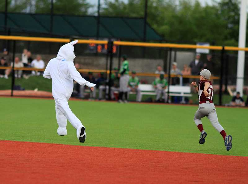 The Hops rabbit mascot hopped around the diamond.