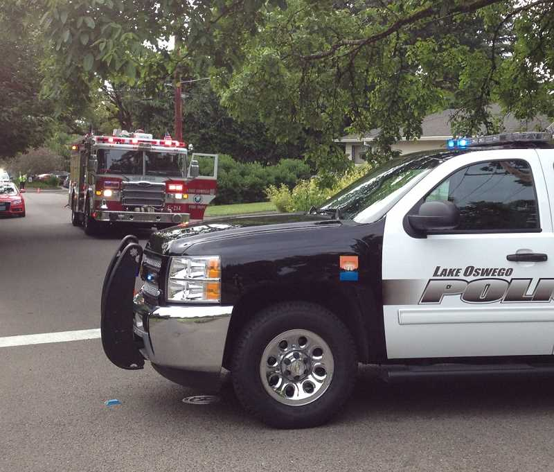 by: DAVID MORRIS, LOFD - A Lake Oswego police car and fire truck were at the scene of a severed gas line Wednesday morning in the First Addition. No injuries or property damage - other than the line - were reported.