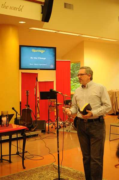 by: SUBMITTED - Rev. Steve Sprecher is shown delivering a sermon at Lake Oswego United Methodist Church. Now, he plans to travel, play the piano and still do some preaching.