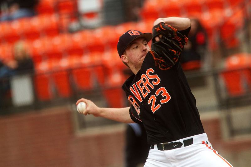 by: COURTESY OF OREGON STATE UNIVERSITY - Freshman Andrew Moore from North Eugene High is likely to start on the mound for Oregon State when the Beavers meet Mississippi State on Friday at the College World Series.