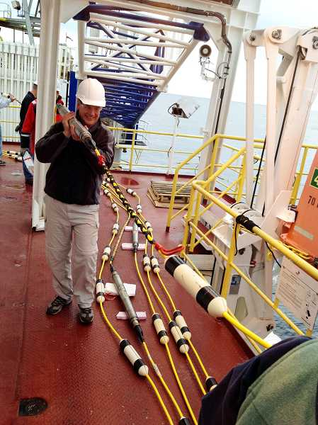 by: SUBMITTED PHOTO - Local teacher Jim Stewart learned scientific techniques on a recent ocean voyage.