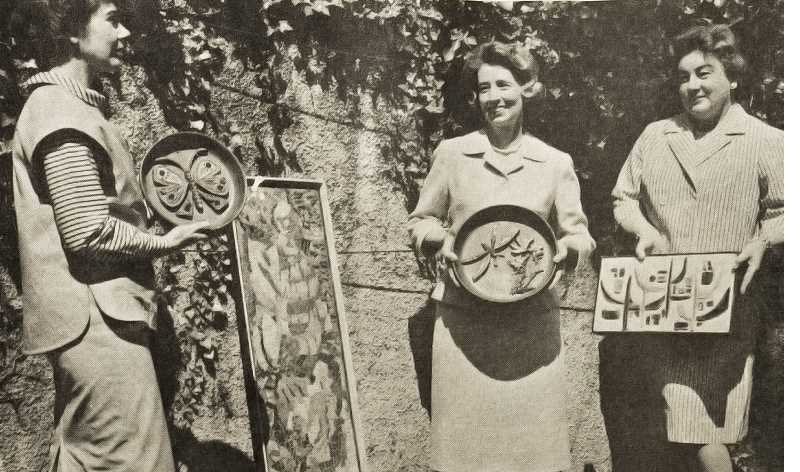 by: REVIEW FILE PHOTO - The Lake Oswego Review enthusiastically covered the very first Lake Oswego arts festival in 1963. Here, three Lake Oswego women show art that was displayed that first year. From left are Mrs. Davis Jackson, Mrs. Frank Mangelsdorf and Mrs. Hull Dolson.