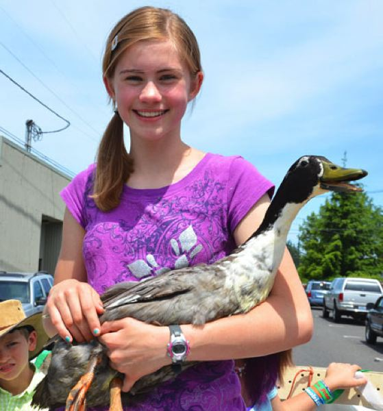by: JOHN BREWINGTON - 4-H's Anne Morud had a good time with her 'Swedish' duck.