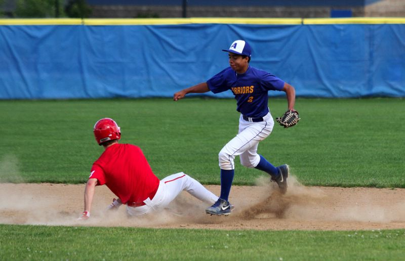by: TIMES PHOTO: JONATHAN HOUSE - Alohas Josh Williams gets the force at second base against Lincoln.