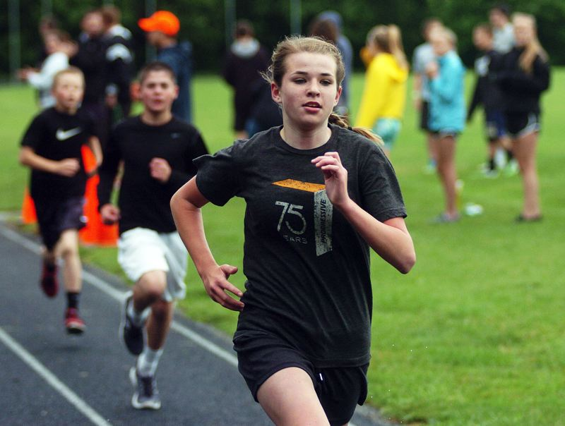 by: DAN BROOD - SIXTH-GRADE WINNER -- Hazelbrook's Megan MacPherson ran to victory in the sixth-grade girls ace at the Beadnell Classic held at Fowler Middle School.