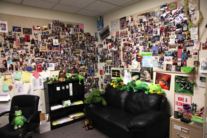 by: CONTRIBUTED PHOTO: SCOTT LIPNER - Scott Lipners counseling office at Gresham High was home to more than 500 frog stuffed animals and trinkets. He sees frogs as a metaphor for transformation, whimsy and play.
