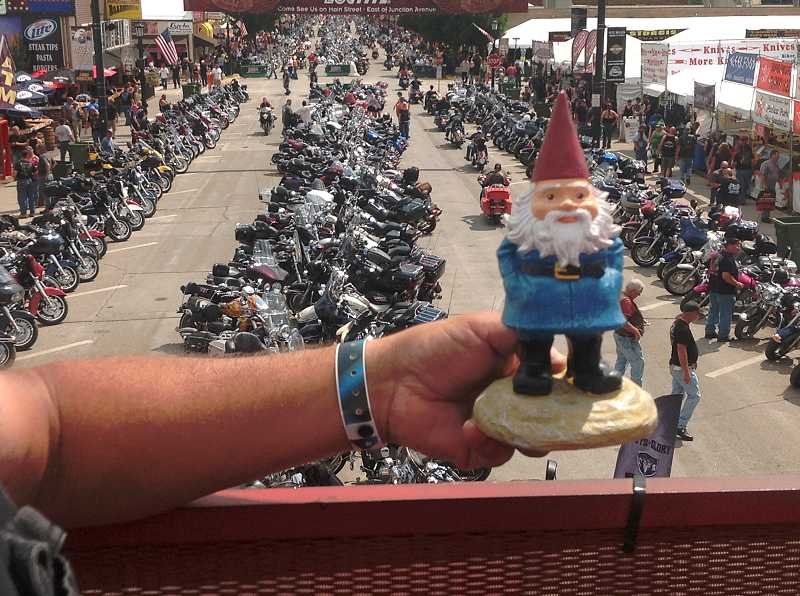 by: COURTESY PHOTO: GAYLE NACHTIGAL - Clyde II went to Bike Week in Sturgis, South Dakota, last year.