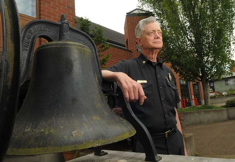 by: REVIEW PHOTO: VERN UYETAKE - Phil Sample has answered his last bell for the Lake Oswego Fire Department. He has presided over some important innovations that have modernized the LOFD.