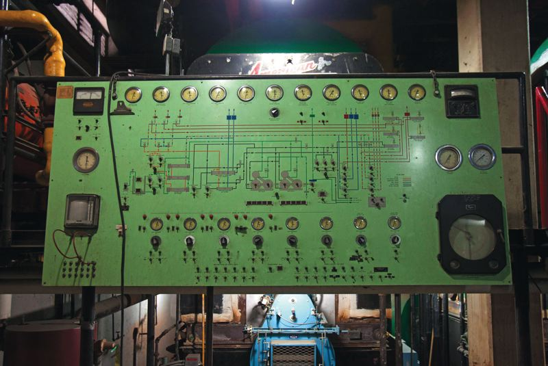 by: TRIBUNE PHOTO: JONATHAN HOUSE - A large, old control panel in the boiler room of Veterans Memorial Coliseum is one of many original features of the 1961 arena.  Workers still manually open and close vents on the boiler system.