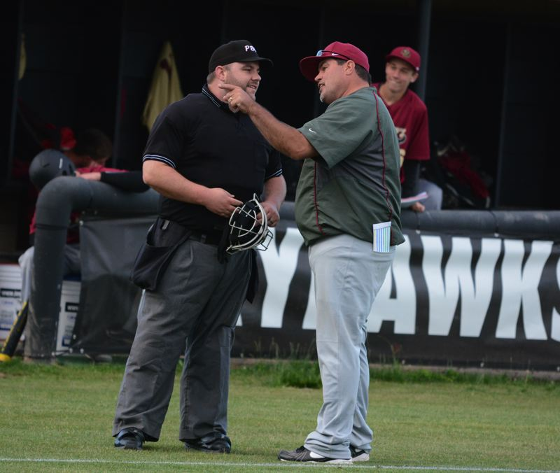 by: TIMES PHOTO: MATT SINGLEDECKER - Southridge baseball coach Joe Monahan is a fierce competitor who sticks up for his players and wants them to get a fair shake with the umps.