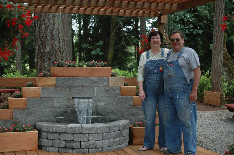by: ESTACADA NEWS PHOTO: ISABEL GAUTSCHI - The Barkles, standing by the fountain, hope musicians will play there from time to time and perhaps couples will get married there.