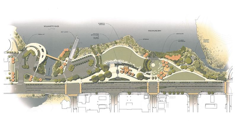 by: RENDERING COURTESY: CITY OF MILWAUKIE - Milwaukie's vision for Riverfront Park includes an ampitheatre, children's playground and restrooms.