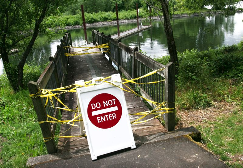 by: OUTLOOK PHOTO: JIM CLARK - A dock at Chinook Landing Marine Park is closed after it collapsed last weekend.