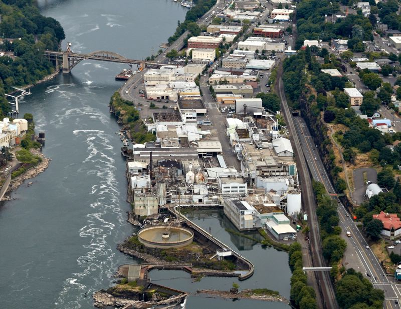 by: PHOTO COURTESY: CITY OF OREGON CITY - This overhead shot of the former Blue Heron Paper Co. property below Willamette Falls shows the 23-acre area where Eclipse placed a bid of $4.1 million.