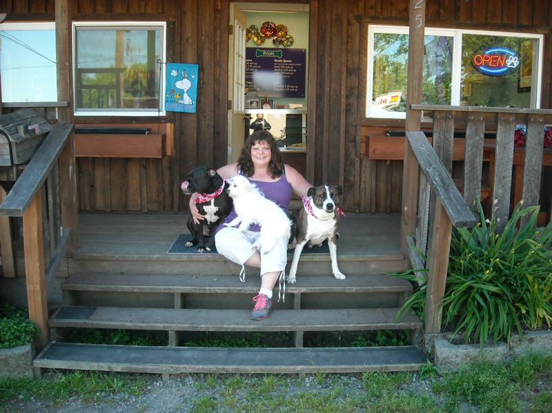by: SUBMITTED PHOTO - Pictured outside Bratdogz Pet Spa are, from left, Ruger, an Australian-border-collie/pit-bull mix, Chihuahua-poodle mix Penelope (in owner Janelle Roberts lap), and Reese, an American Staffordshire terrier.