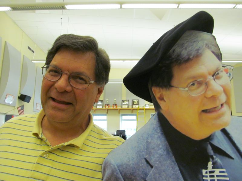 by: PHOTO BY: ELLEN SPITALERI - On the last day of school, the real Bill Bartman, left, with the flat Bill Bartman, given to him by his many fans.