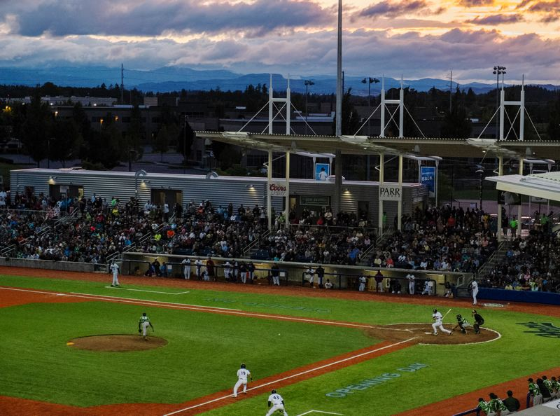 by: HILLSBORO TRIBUNE PHOTO: CHASE ALLGOOD - Construction of the $15.5 million stadium where the Hillsboro Hops play is just one of the economic benefits of having a minor league baseball team in Hillsboro.