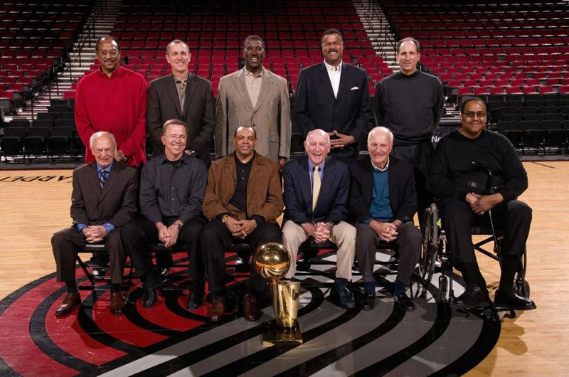 by: SAM FORENCICH/GETTY IMAGES - Jack Ramsay (front row, fourth from left) was part of a photo shoot at the 30th anniversary reunion of the Portland Trail Blazers' NBA champions.