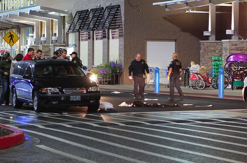 by: DAVID F. ASHTON - On June 12, in a marked crosswalk at the Eastport Plaza Walmart store - in the 4200 block of S.E. 82nd Avenue, at Holgate - a car reportedly backed into two shoppers exiting the store. Purchases made by the victims remained strewn across the crosswalk, while officials continued the investigation.