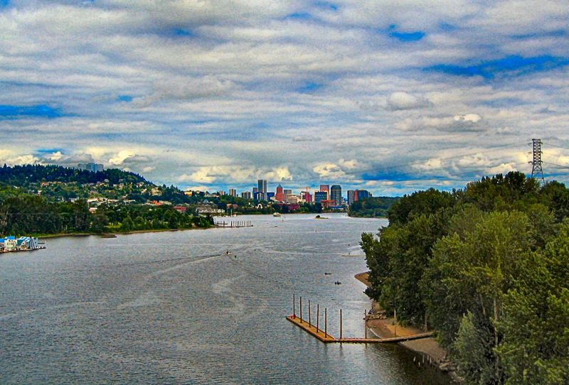 by: ERIC NORBERG - From the elevated vantage point of the Sellwood Bridge, this is the view downriver towards  Portland that swimmers in the Portland Bridge Swim encounter as they begin the race this year at 7:30 am on July 21st.