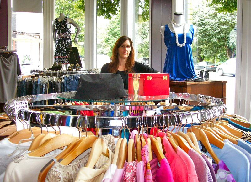 by: RITA A. LEONARD - Marci Pelletier, owner of Shwop recycled clothing, recently moved her store from Woodstock to Brooklyn, on S.E. Powell Boulevard.