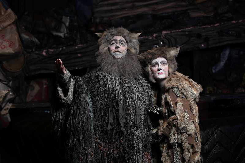 by: COURTESY PHOTO: CRAIG MITCHELLDYER - Bobby Jackson as Old Deuteronomy and Amy Jo Halliday as Grizabella star in Broadway Rose Theatre Companys production of CATS.