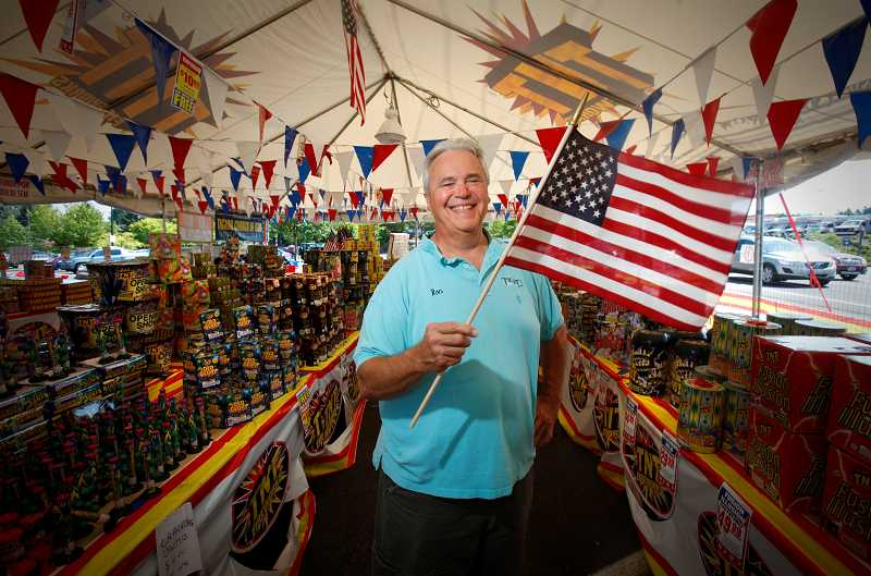 by: TIMES PHOTO: JONATHAN HOUSE - Ron Royse loves fireworks. The owner of Tigard Music on Pacific Highway, Royse has helped organize that annual Old Fashioned 4th of July fireworks show at Tigard High School since its inception.