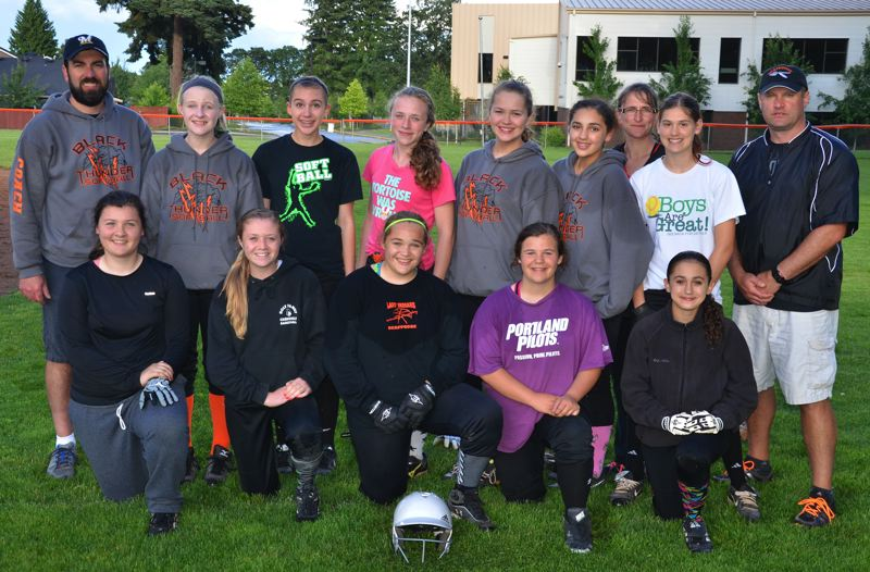 by: JOHN BREWINGTON - Members of the Scappoose Juniors Little League softball team include: (front, from left) Alex Toman, Emily Marquardt, Grayson Abraham, Hallie Schwirse; (back) Coach Steve Ganiere, Sandra D. Fry, Savanna Ganiere, Kortney Smith, Magdalana Kercher,  Allyah Cates, Madison McDonald, Manager Matt McDonald; (far back) Coach