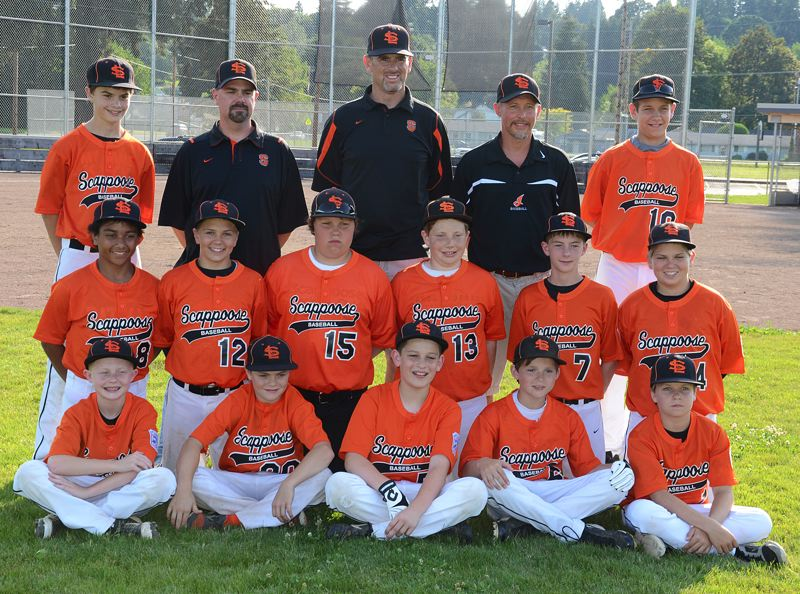 by: JOHN BREWINGTON - Members of the Scappoose Little League All-Star tournament team include: (front, from left) Jordan Buchanan, Breeler Mann, Luke Roth, Connor McNabb, Jaden Holmason; (middle) Logan Hopkins, William Weber, Terrence Lewis, Weston Spang, Kyle Johnson, Michael Weber; (back) Noah Dietz, Coach Belmond Mann, Manager Joe Backus, Coach Mike Buchanan, Gavin Larson.