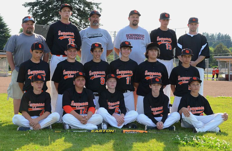 by: JOHN BREWINGTON - Members of the Scappoose Little League Juniors tournament team include: (front, from left) Jerad Toman, Richard Reser, Nathyn Maller, Nate Rieman, Jacob Mizee; (middle row) Christopher Bendle, Bradley Verbout, Brody Butler, Ted Stephenson, Cade Davidson, Kyler Alioth; (back) Coach Paul Butler, Ethaniel German, Manager Albert Bernal, Coach Dave Maller, Dakota Poppenhagen, Coach Travis German.