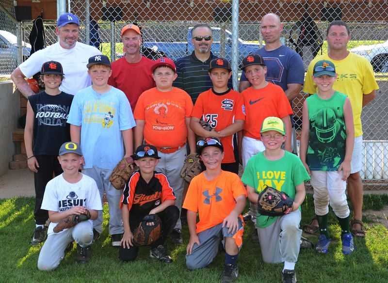 by: JOHN BREWINGTON - Members of the Scappoose Little League 9-10s team include: (front, from left) Kade Hildreth, Jaxon Bundy, Jack Duschka, Cooper Ragan; (middle) Connor MacLachlan, Luke McNabb, Mikey Bates, Colton Frates, Tyler Souvenir, Jordyn Ward; (back) Coach Wayne Bundy, Manager Troy Duschka, Coach Tom MacLachlan, Coach Jason Hildreth, Coach Mike Ragan. Not pictured: Logan Johnson.