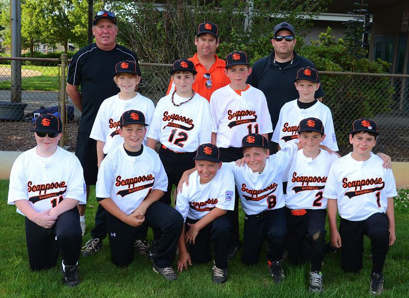 by: JOHN BREWINGTON - Members of the Scappoose Little League 10-11s team include: (front, from left) Matt Wallin, Tanner Balogh, Noah Packineau, Drake Kramer, Denver Backus, Jacob Bernhard; (middle) Oliver Benner, Easton Decker, Ben Anicker, Thomas Greiner; (back) Coach Ken Kramer, Manager Jeff Bernhard, Coach Clyde Anicker.