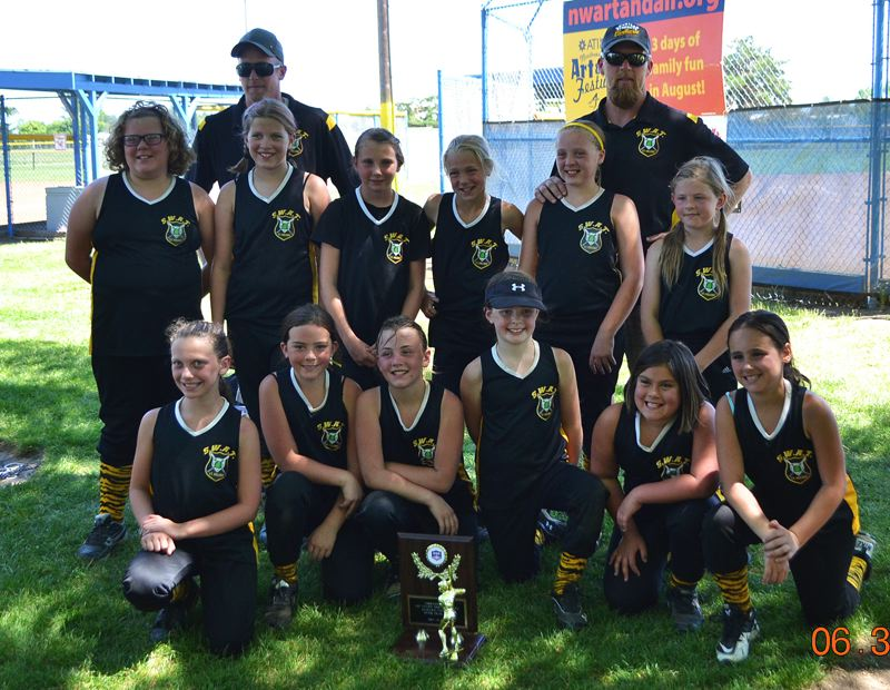 by: SUBMITTED PHOTO - Members of the third-in-state St. Helens 10U softball team included: (front, from left) Hailey Yon, Karlee Webster, Jasmyne Pense, Ellie Austin, Helayna Flores, Kamryn Hubbs; (middle row) Hanna Russell, Portia White, Madison Blazek, Savannah Moore, Brea Paulson, Maria Reardon; (coaches, back row) Rory Moore, Kurt Paulson. Not pictured: Dessa Cooper, Coach Kyle Cooper.