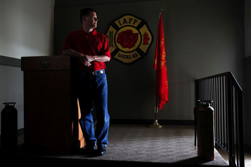 by: TRIBUNE PHOTO: JONATHAN HOUSE - Portland Firefighters Association President Alan Ferschweiler is worried about possible layoffs of up to 26 firefighters later this year.